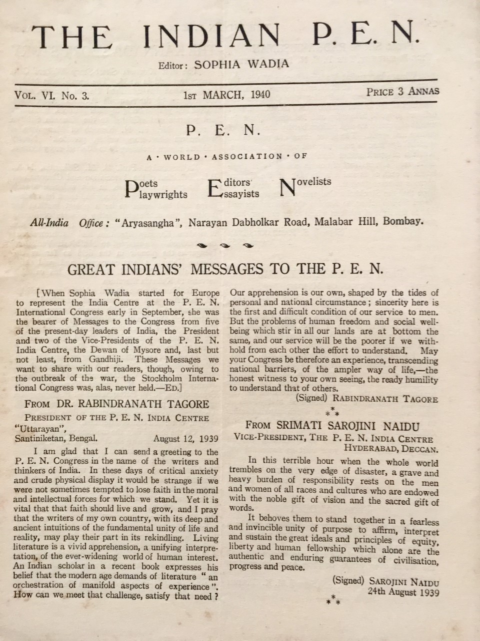 Great Indian Messages to the PEN 1939-1jpg